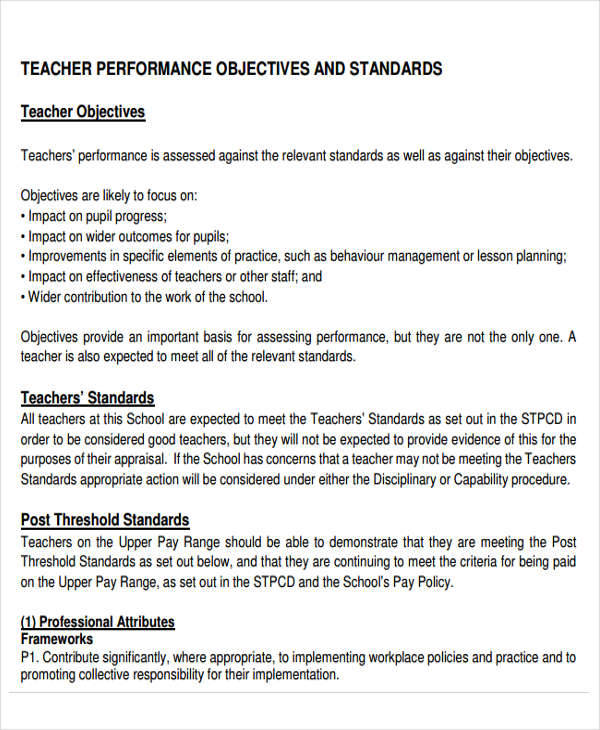 Performance Objectives Example For Teachers