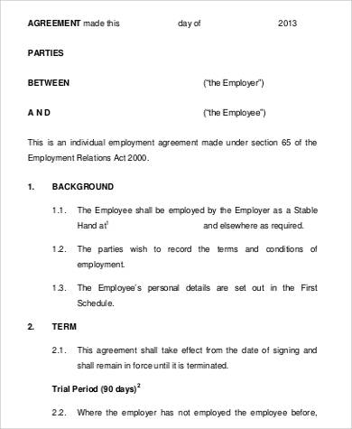 permanent contract of employment template - 63 sample agreements in pdf sample templates