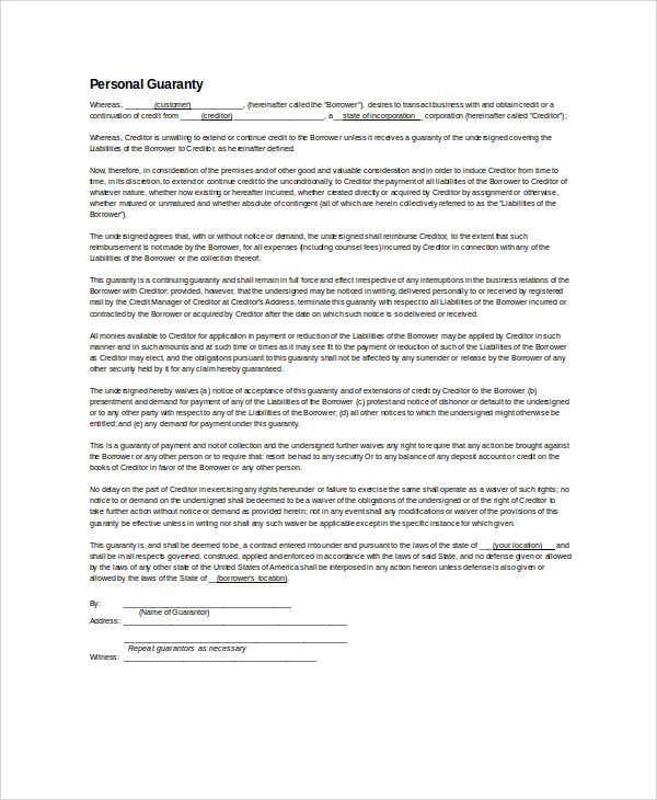 personal guarantee letter format1
