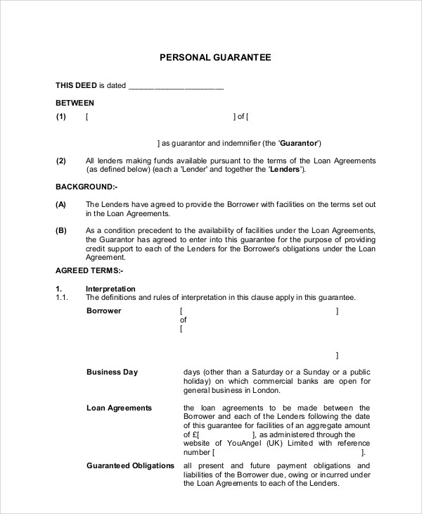 personal guarantee letter for loan