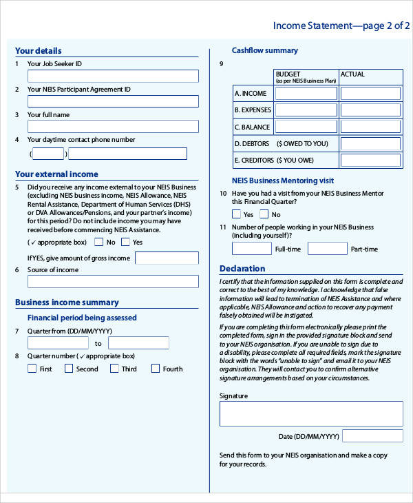 personal income statement form