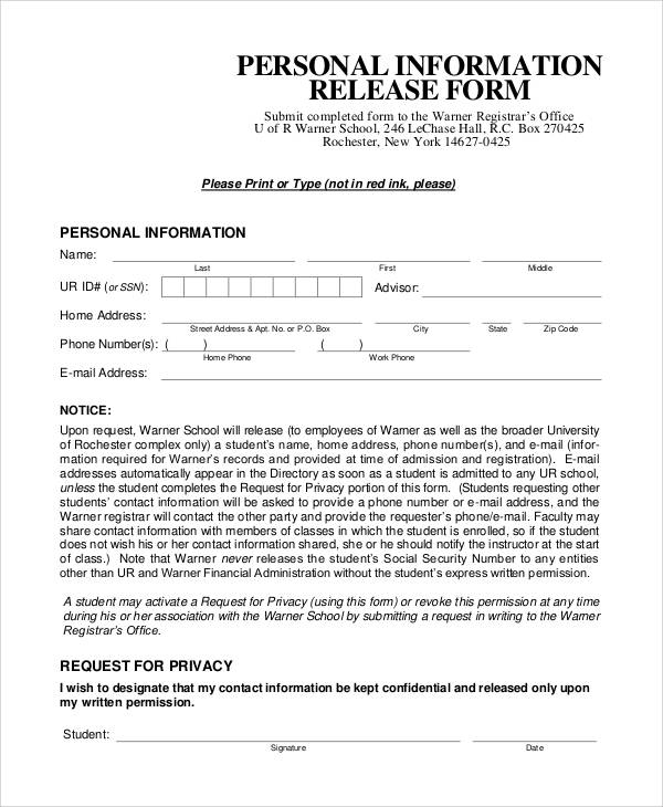 Generic Release Forms – Release of Personal Information Form
