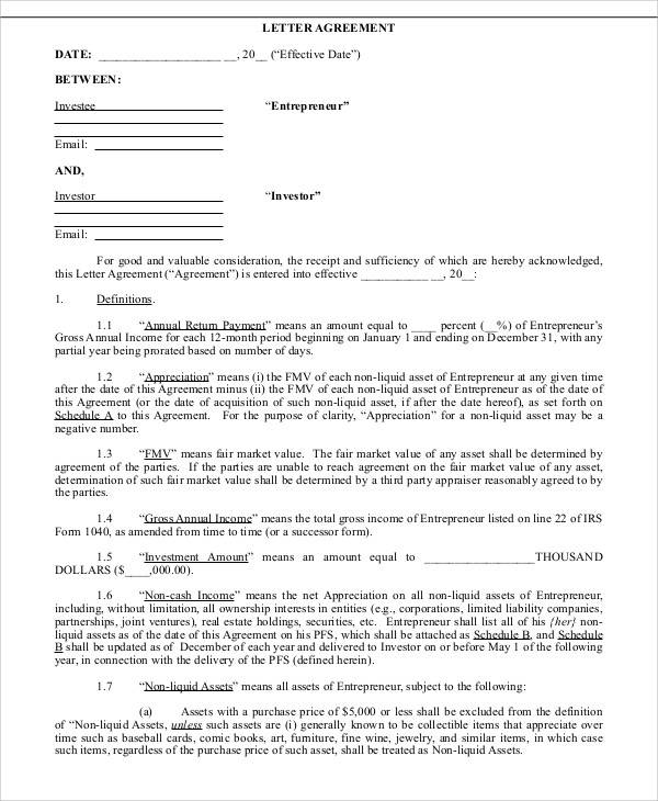 personal investment agreement letter
