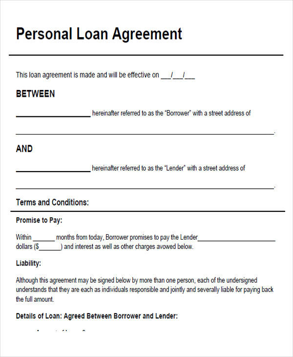 Unsecured Loan Agreement Sample Sample Loan Agreement 6 Free