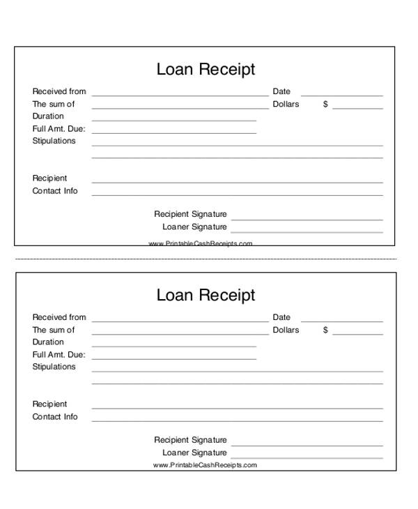 High Quality Personal Loan Payment Receipt For Loan Payment Receipt Template