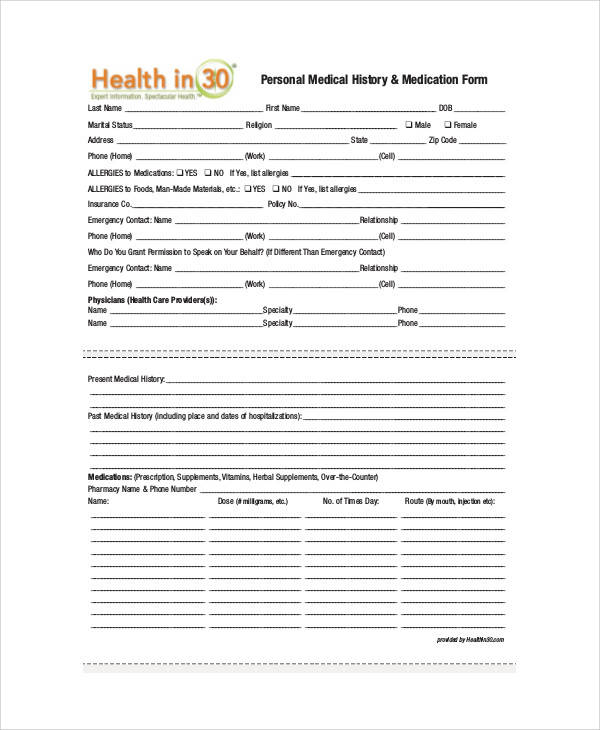 Bsa Medical Forms  Sample Ideas