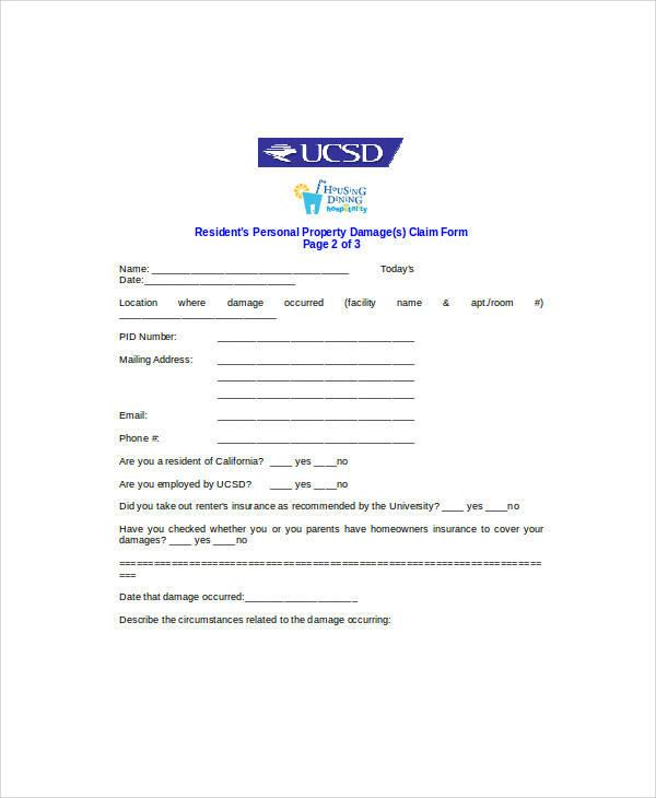 personal property damage claim form