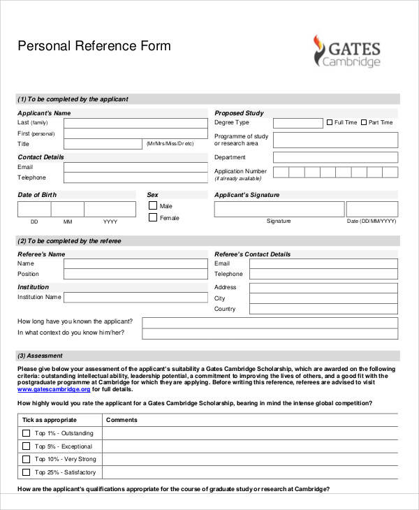 personal reference application form