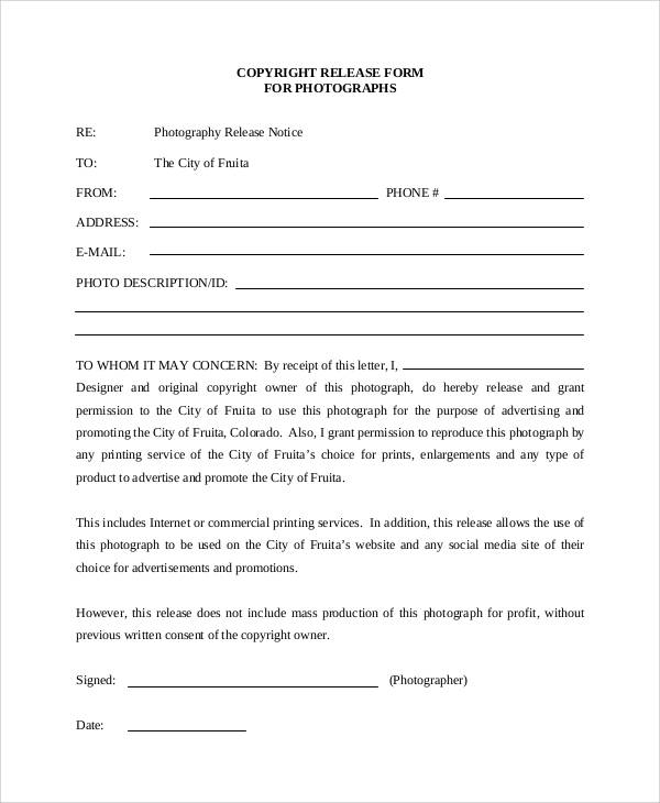 53 generic release forms sample templates for Copyright template for book