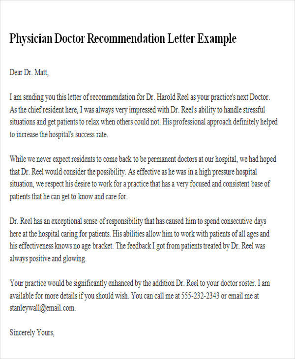 Sample Physician Recommendation Letter  Free Sample Example