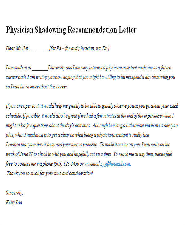physician shadowing recommendation letter