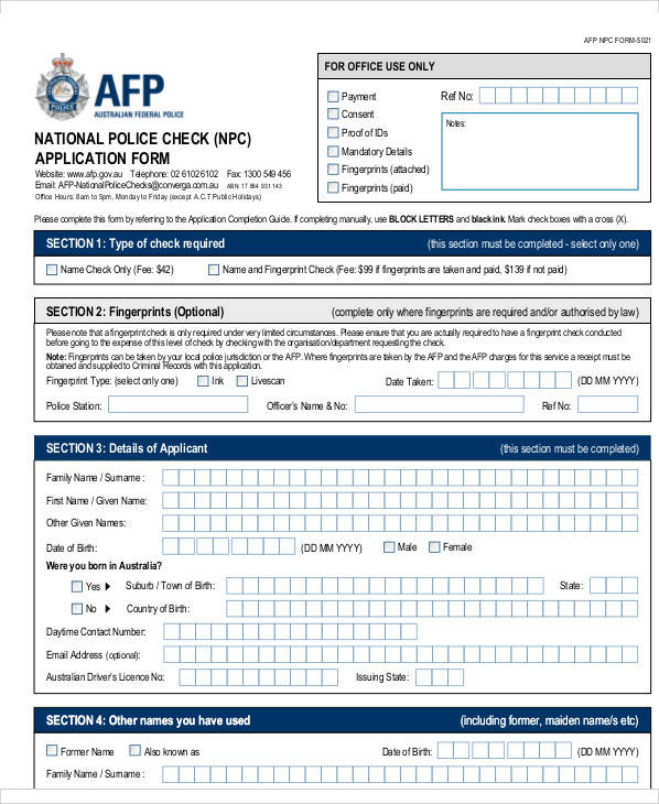 police check application form