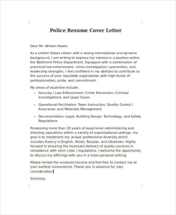 sample police resume