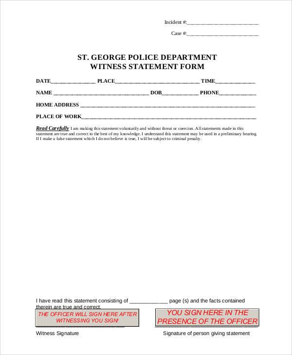 police witness statement form