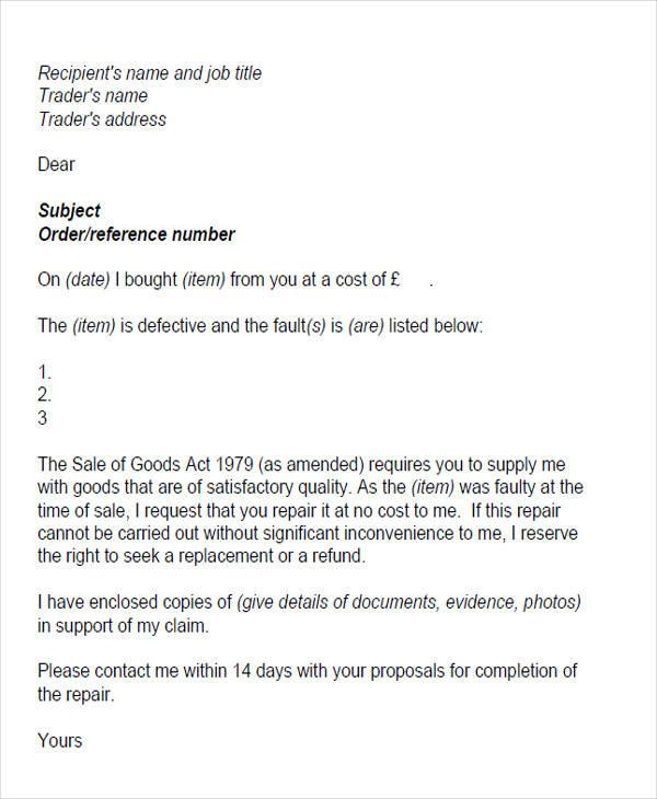 poor customer service letter