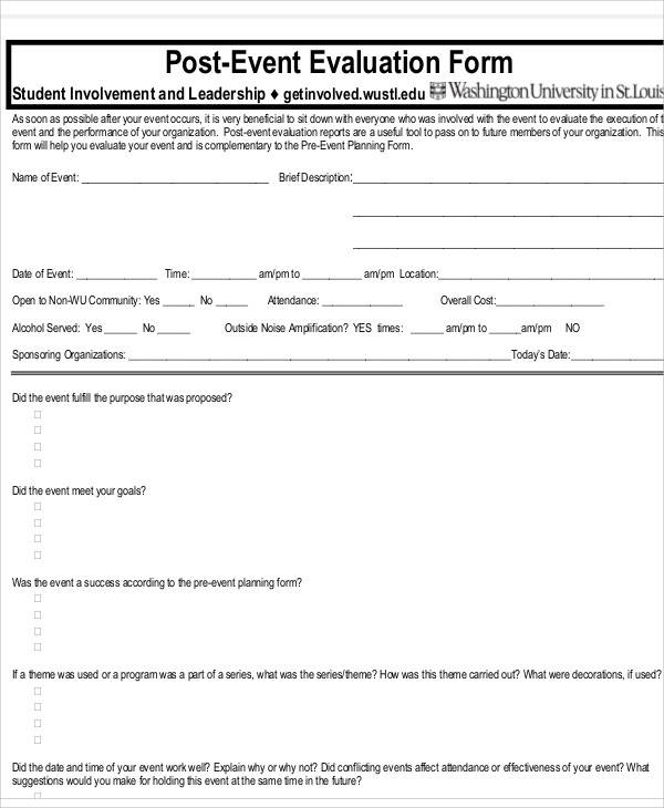 Evaluation Form Example