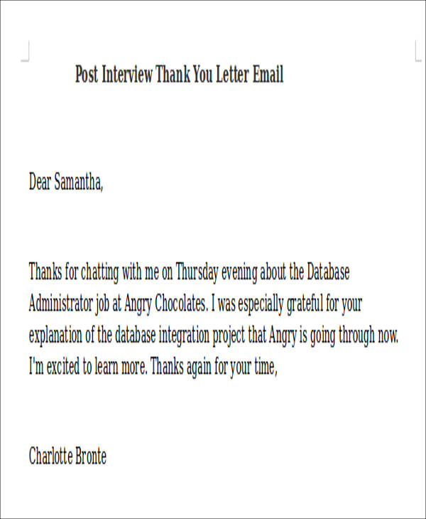 Sample Interview Thank You Letter Email