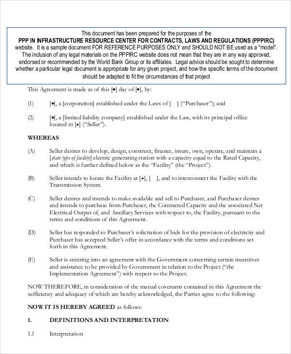 Printable Agreement Samples – Sample Power Purchase Agreement