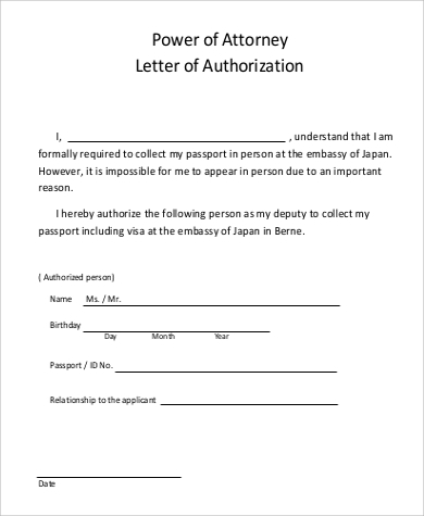 power of attorney authorization letter