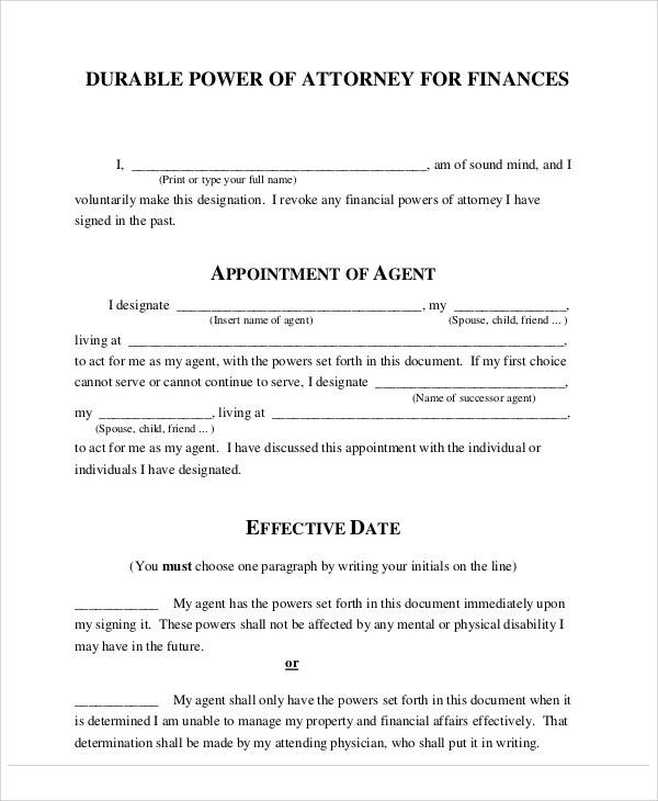 power of attorney financial medical form