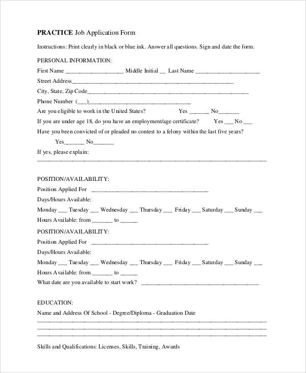 Simple Application Forms – Practice Job Application