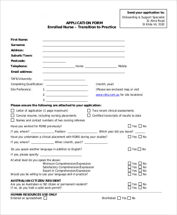 practice nurse application form