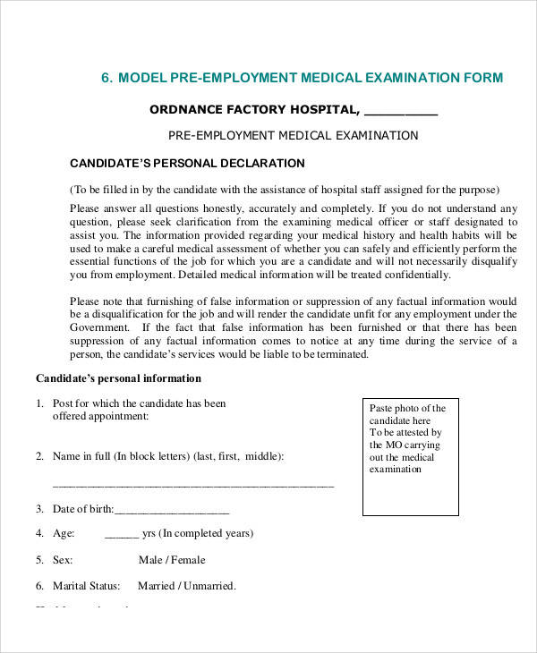 pre employment medical examination form