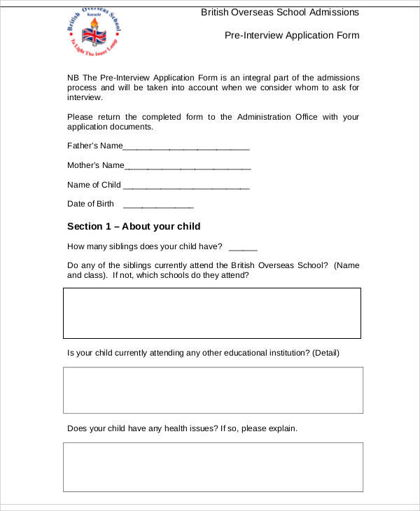 pre interview application form1