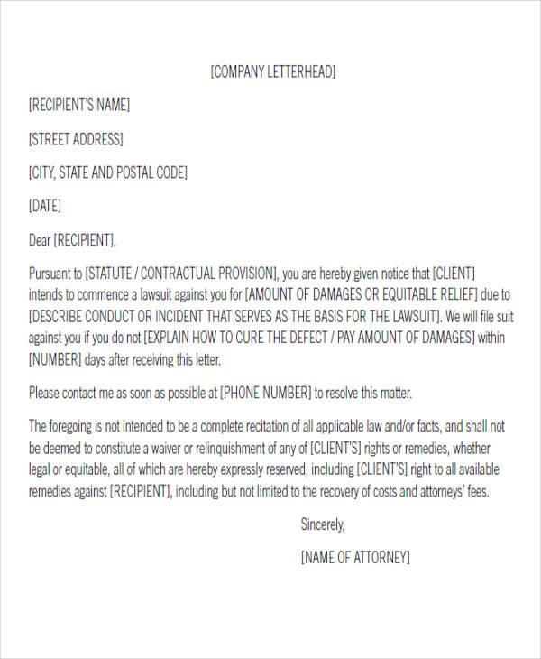 pre suit notice letter