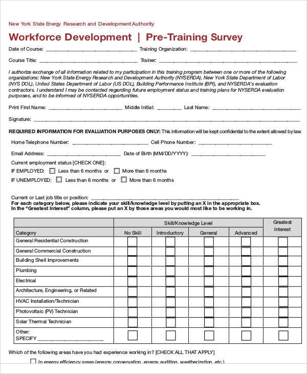 pre training survey form