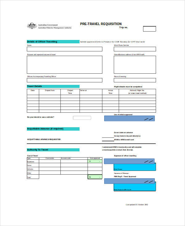 pre travel requisition form