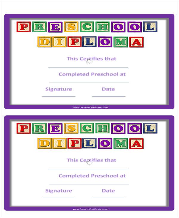 preschool graduation certificate