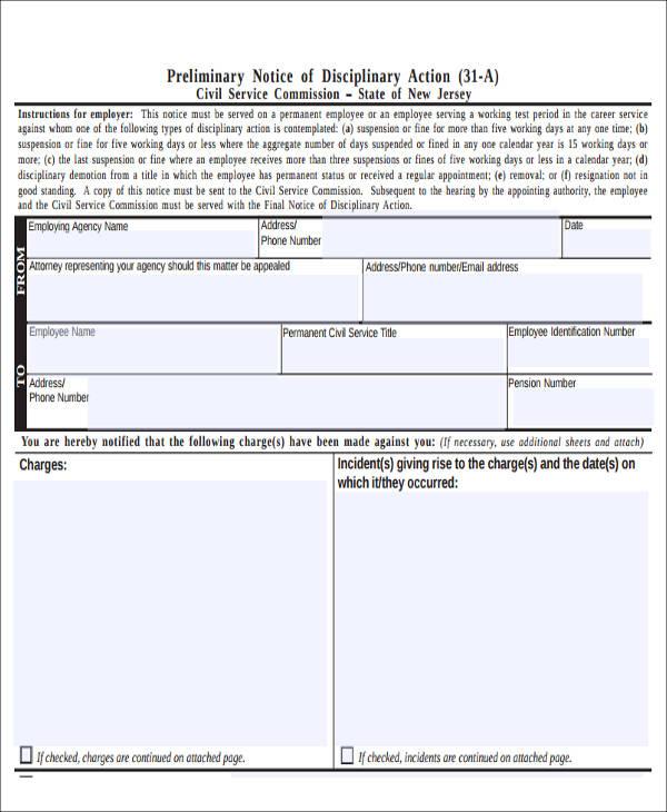 preliminary notice of disciplinary action form1