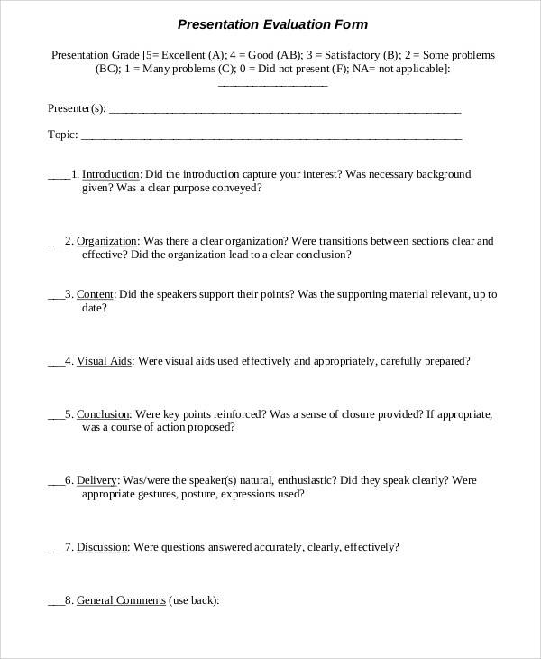 presentation evaluation form example1