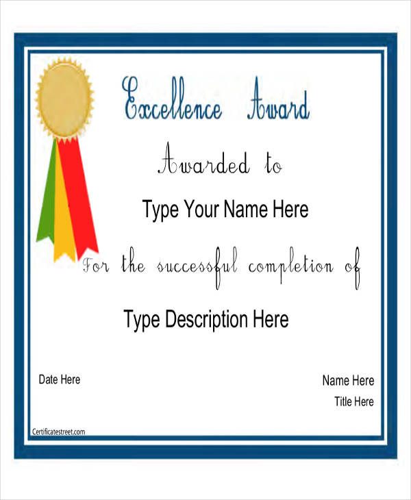 presidential academic award certificate