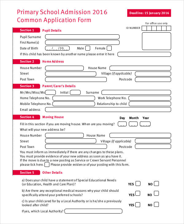 primary school application form1