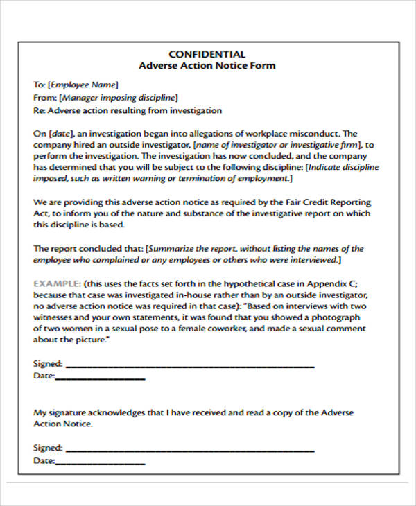 printable adverse notice form