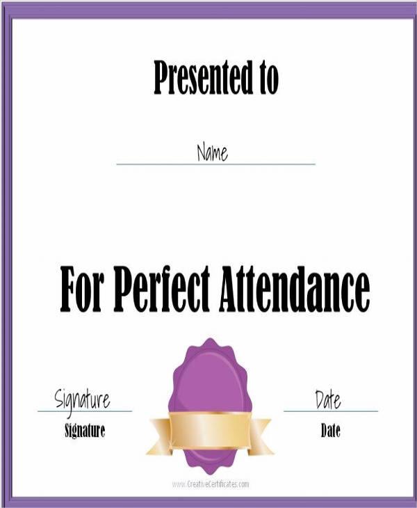 printable attendance award certificate