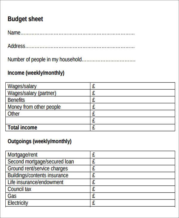 printable blank budget form