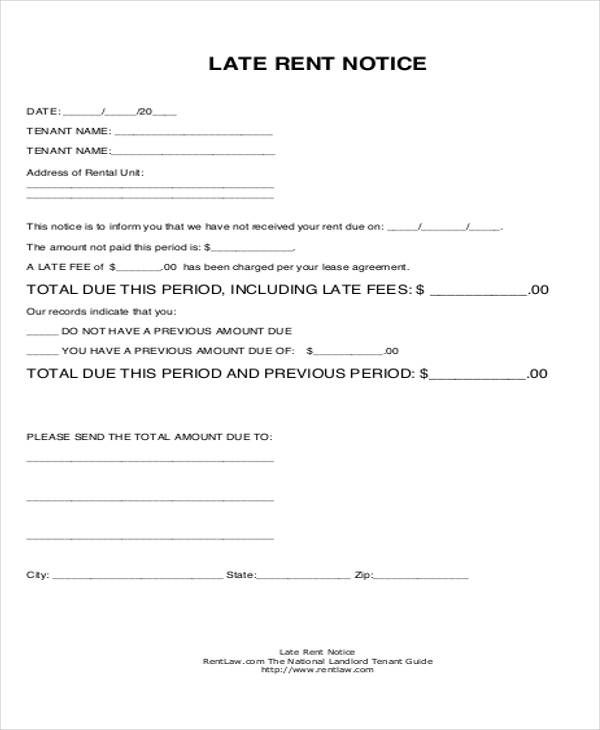 printable late rent notice form