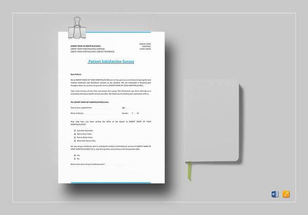 printable patient satisfaction survey template