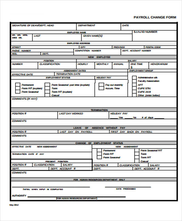 printable payroll change form