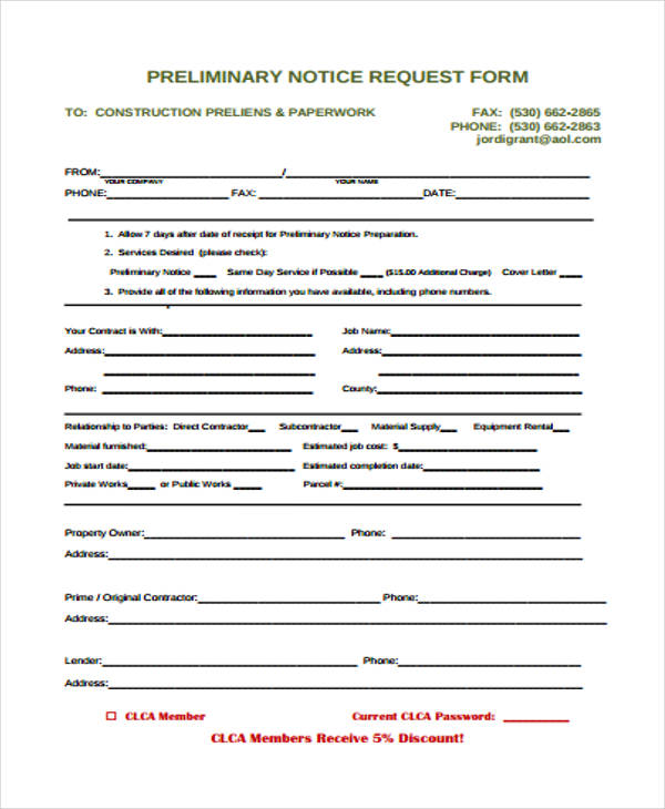 printable preliminary notice form