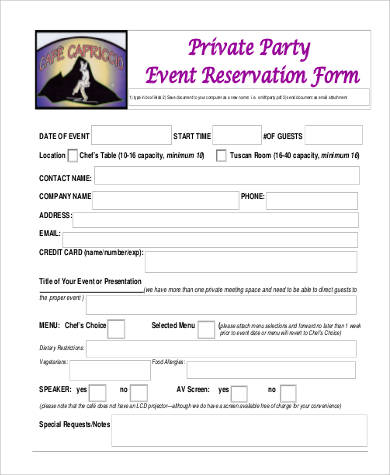 private party event reservation form