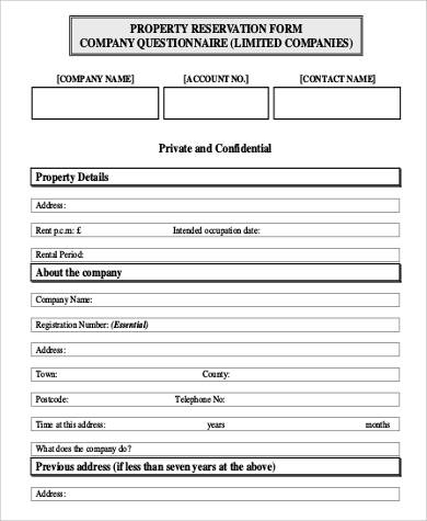 Private And Confidential Property Reservation Form