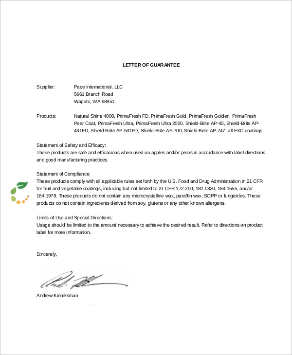 product quality guarantee letter