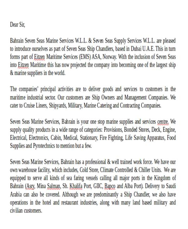 product service introduction letter