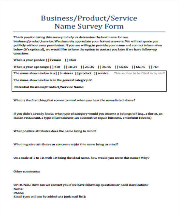 Survey Form Example