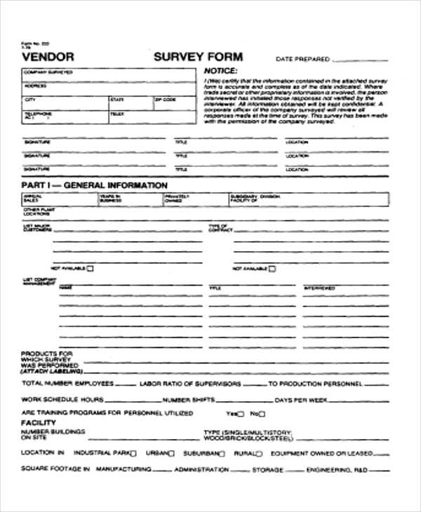product vender survey form