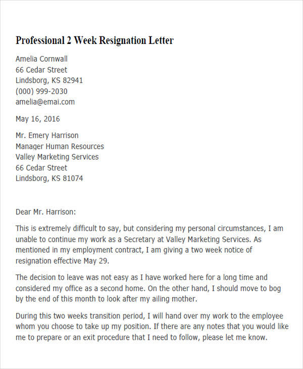 professional 2 week resignation letter5